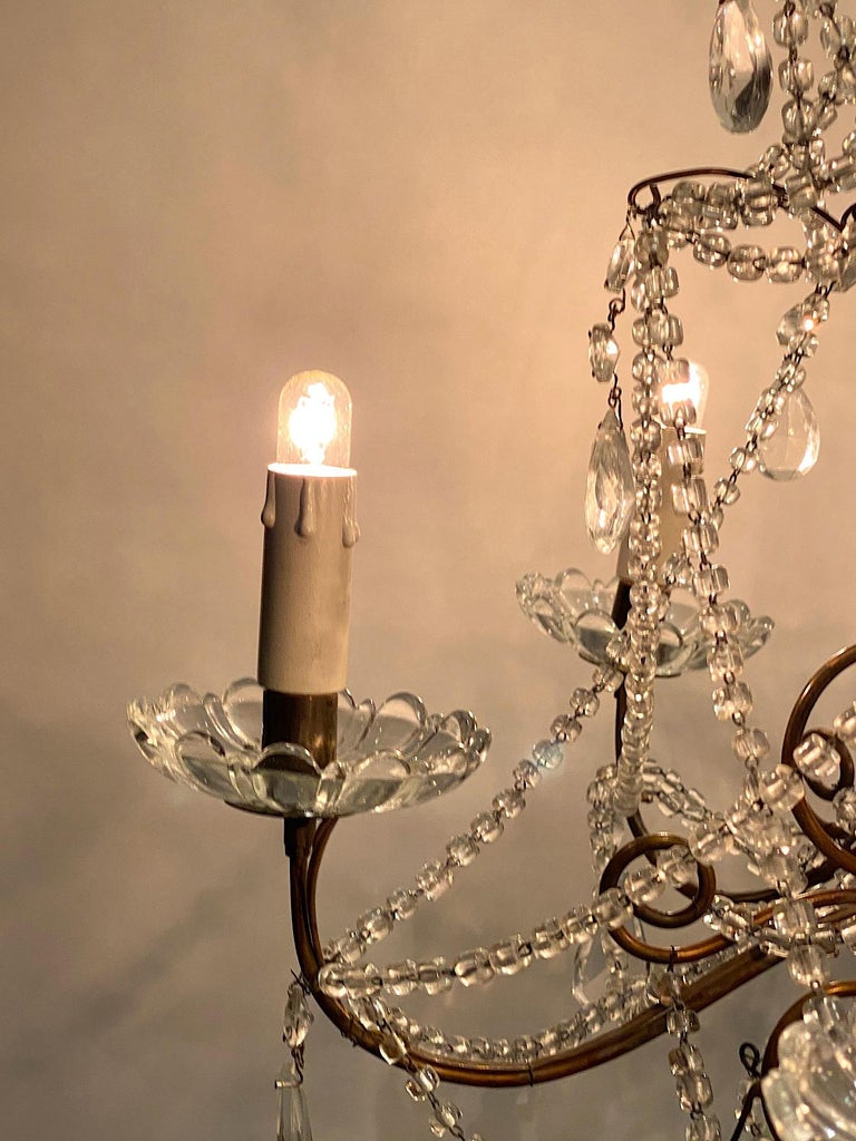 Italian 6 Light Gilt and Crystal Bead Swag Chandelier For Sale 11