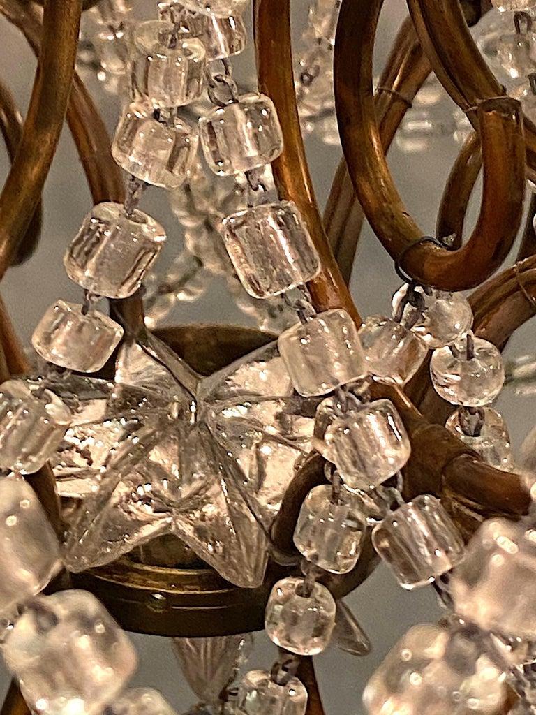 Italian 6 Light Gilt and Crystal Bead Swag Chandelier For Sale 12