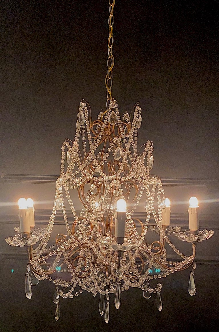 Italian 6 Light Gilt and Crystal Bead Swag Chandelier In Good Condition For Sale In New York, NY