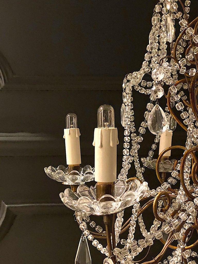 Glass Italian 6 Light Gilt and Crystal Bead Swag Chandelier For Sale