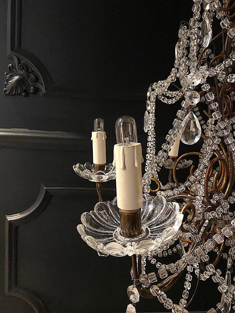 Italian 6 Light Gilt and Crystal Bead Swag Chandelier For Sale 3