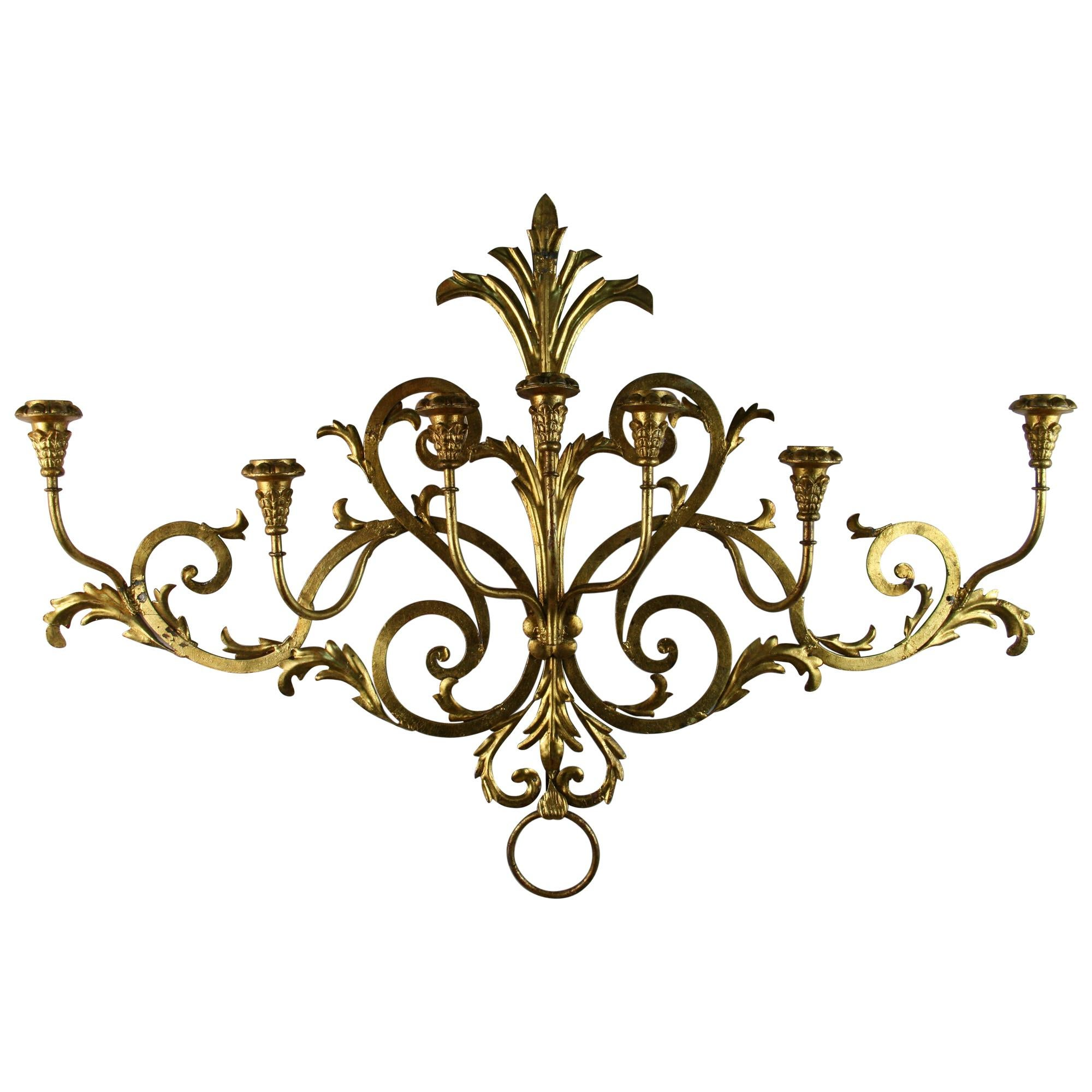 Italian 7 Lite Wall Candle Sconce or Sculpture