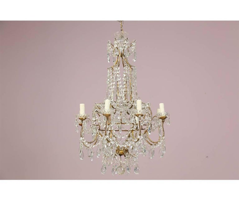 Italian eight light crystal beaded chandelier for sale at 1stdibs rococo italian eight light crystal beaded chandelier for sale aloadofball Choice Image