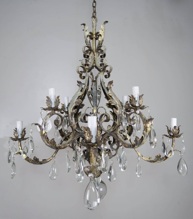 Italian Eight Light Wrought Iron Crystal Chandelier For 8