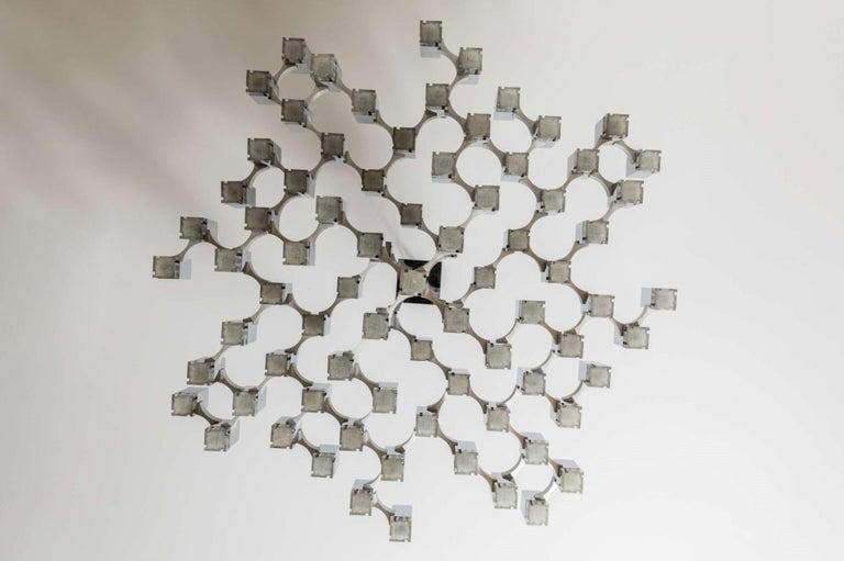 Mid-Century Modern Italian, 81 Cubic Chandelier by Gaetano Sciolari, 1970s For Sale