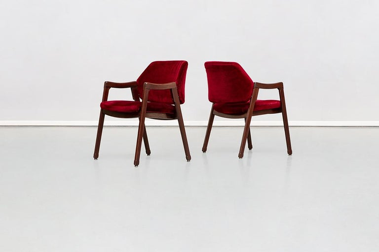 Italian 814 Beech and Velvet Armchair by Ico and Luisa Pairisi for Cassina, 1961 For Sale 6