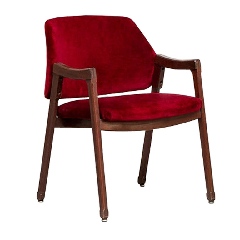 Italian 814 Beech and Velvet Armchair by Ico and Luisa Pairisi for Cassina, 1961 For Sale