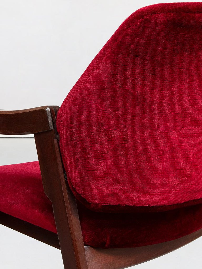 Italian 814 Beech and Velvet Armchairs by Ico and Luisa Pairisi for Cassina 1961 For Sale 5