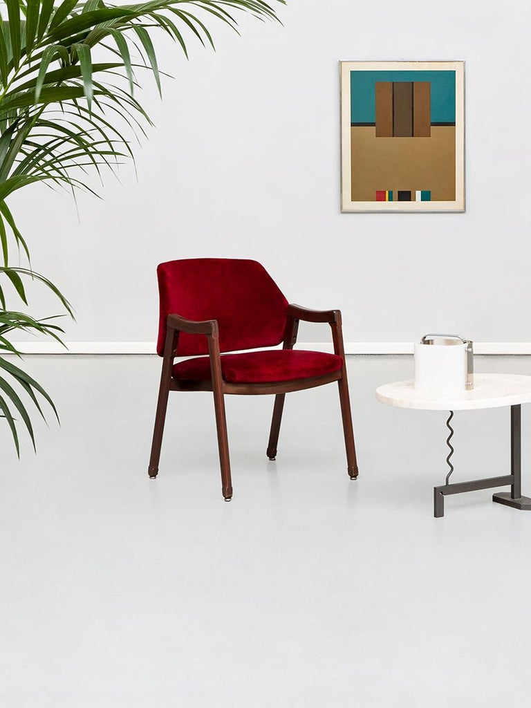 Italian 814 Beech and Velvet Armchairs by Ico and Luisa Pairisi for Cassina 1961 For Sale 7