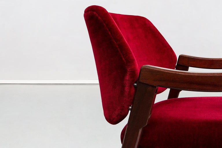 Italian 814 Beech and Velvet Armchairs by Ico and Luisa Pairisi for Cassina 1961 For Sale 3