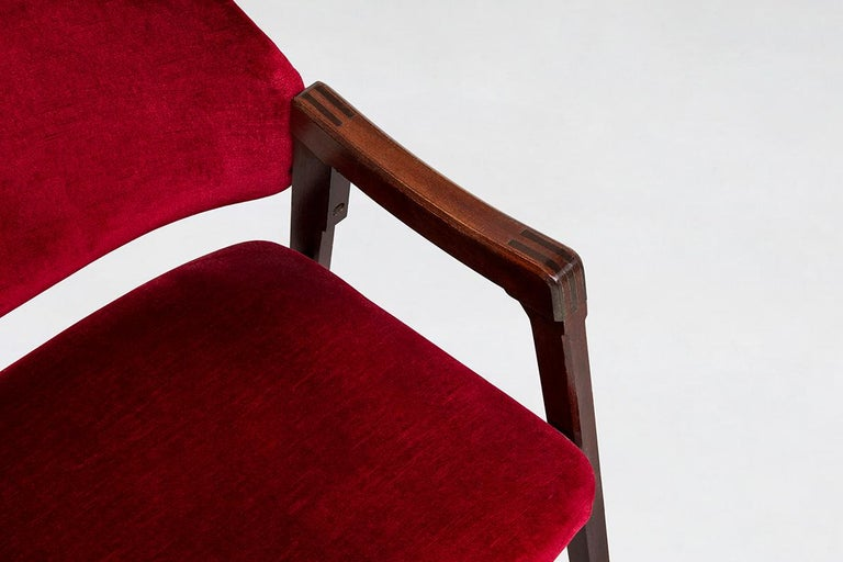 Italian 814 Beech and Velvet Armchairs by Ico and Luisa Pairisi for Cassina 1961 For Sale 4