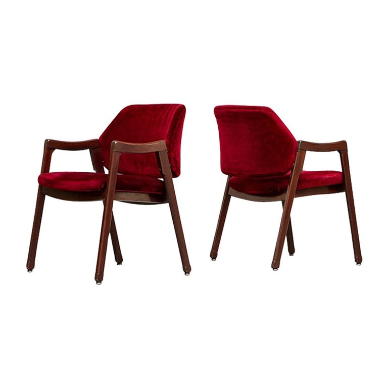 Italian 814 Beech and Velvet Armchairs by Ico and Luisa Pairisi for Cassina 1961 For Sale