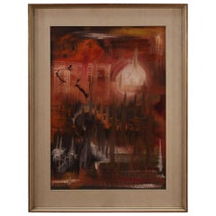 Italian Abstract Oil Painting on Canvas, 20th Century