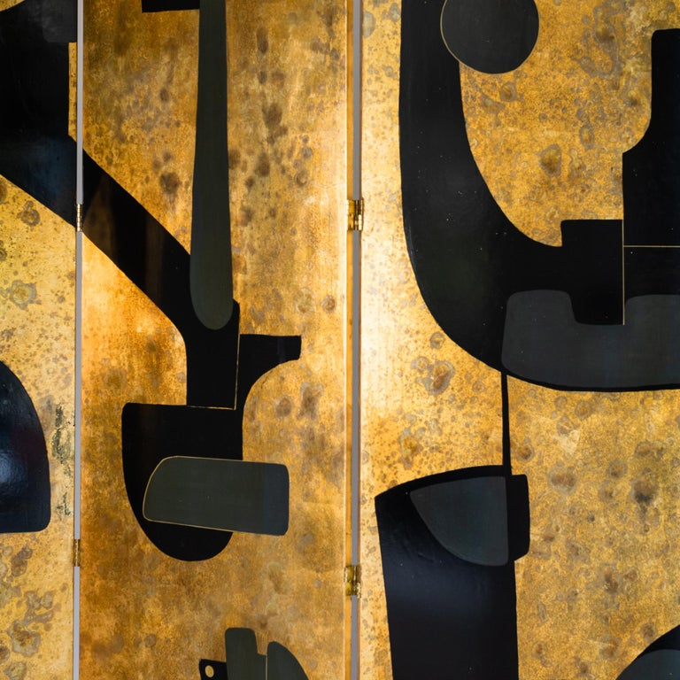 Italian Abstract Painted 3-Panel Screen in Gold/Black/Grey by Stefano Pertini For Sale 3