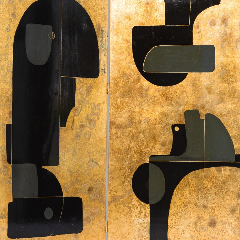 Italian Abstract Painted 3-Panel Screen in Gold/Black/Grey by Stefano Pertini For Sale 4