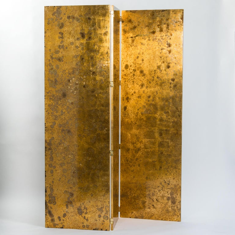 Italian Abstract Painted 3-Panel Screen in Gold/Black/Grey by Stefano Pertini For Sale 7