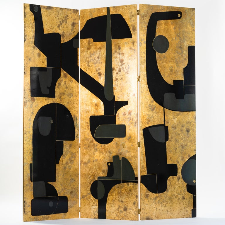 Mid-Century Modern Italian Abstract Painted 3-Panel Screen in Gold/Black/Grey by Stefano Pertini For Sale