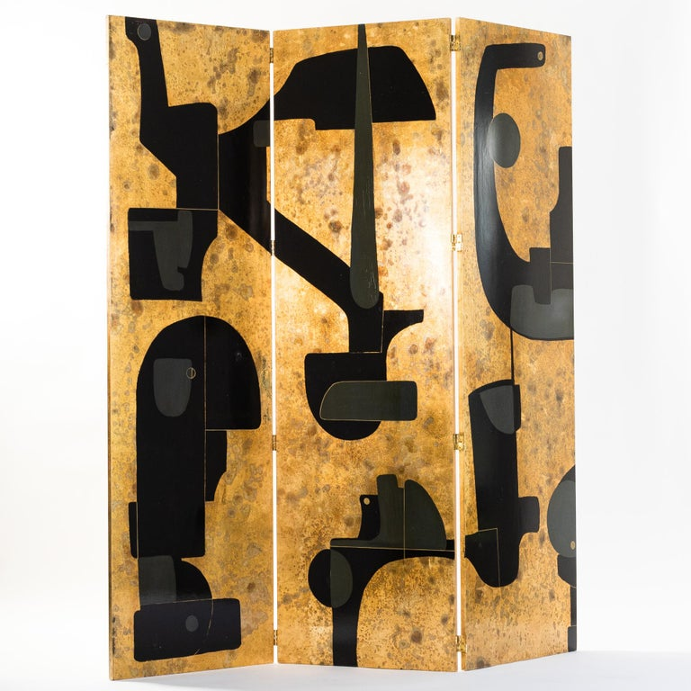 Gilt Italian Abstract Painted 3-Panel Screen in Gold/Black/Grey by Stefano Pertini For Sale
