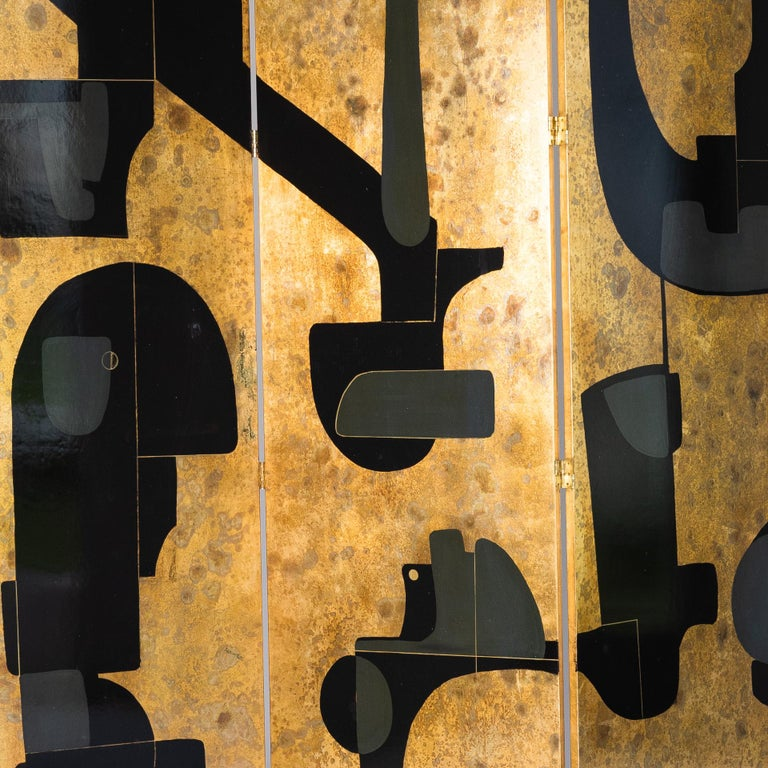 Italian Abstract Painted 3-Panel Screen in Gold/Black/Grey by Stefano Pertini In Good Condition For Sale In Salzburg, AT