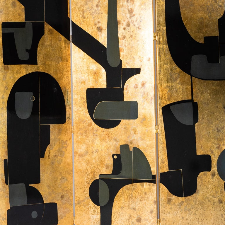 Wood Italian Abstract Painted 3-Panel Screen in Gold/Black/Grey by Stefano Pertini For Sale