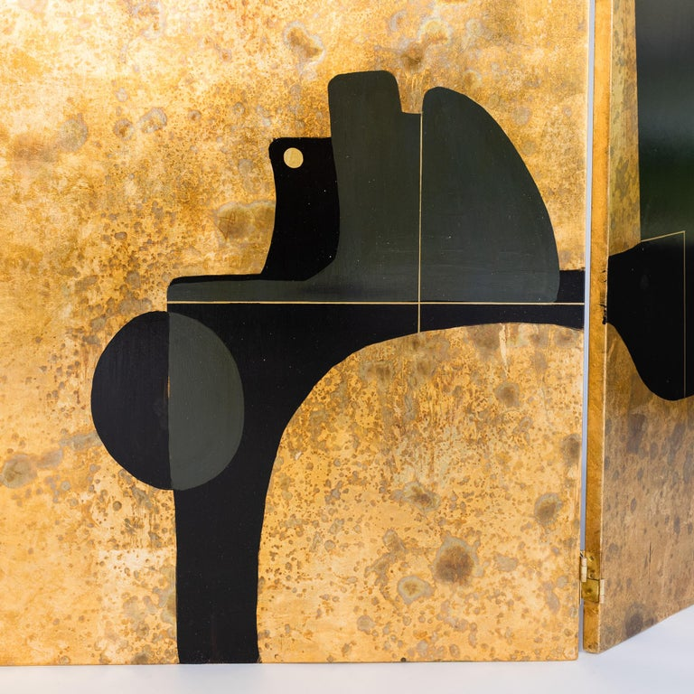 Italian Abstract Painted 3-Panel Screen in Gold/Black/Grey by Stefano Pertini For Sale 1