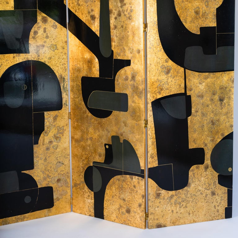 Italian Abstract Painted 3-Panel Screen in Gold/Black/Grey by Stefano Pertini For Sale 2