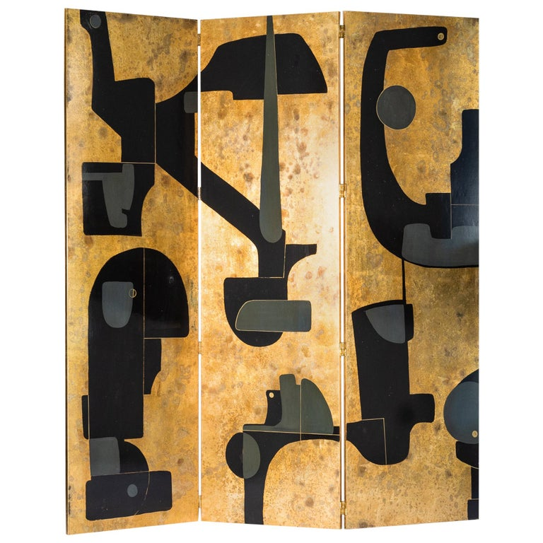 Italian Abstract Painted 3-Panel Screen in Gold/Black/Grey by Stefano Pertini For Sale