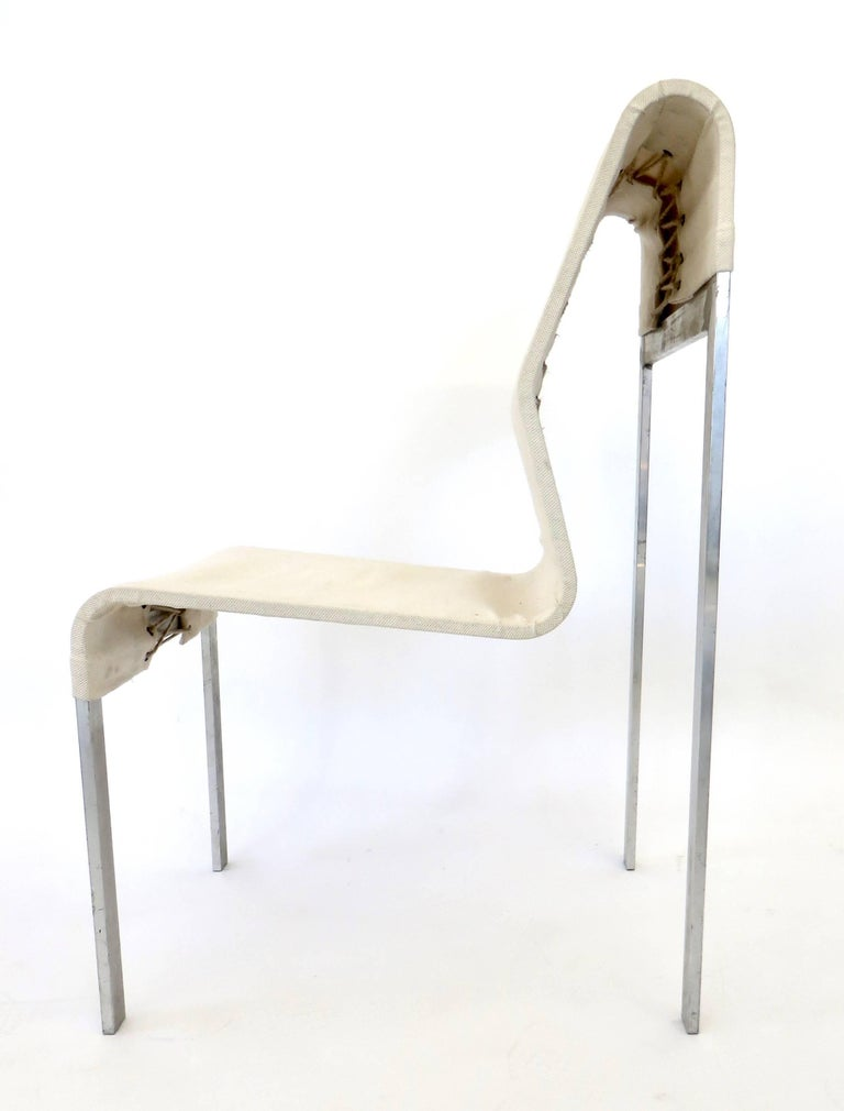 Late 20th Century Italian Abstract Sculptural Steel and Fabric Corset Side Chair For Sale