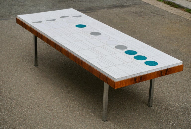 Mid-Century Modern Italian Abstract Tile Coffee Table in the Style of Pia Manu For Sale