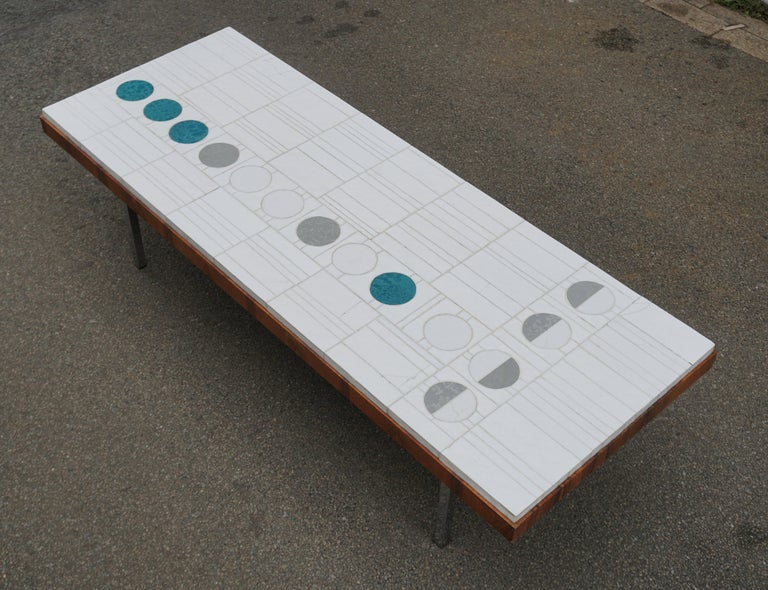 Veneer Italian Abstract Tile Coffee Table in the Style of Pia Manu For Sale