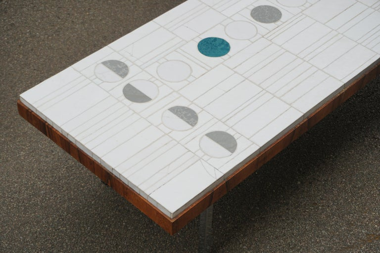 Ceramic Italian Abstract Tile Coffee Table in the Style of Pia Manu For Sale