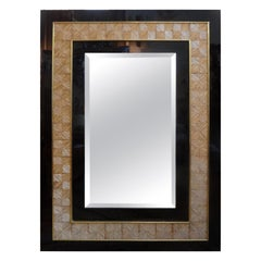 Italian Acrylic, Brass and Bamboo Beveled Mirror