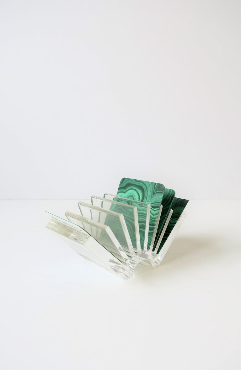 A chic Italian designed acrylic business card holder or small paper desk organizer, Made in Italy, by designer Guzzini. With maker's mark on side, 'Guzzini', 'Made in Italy,' as show in image #10.