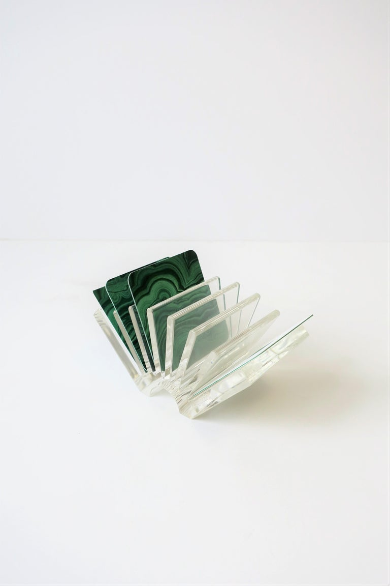 Italian Acrylic Business Card Holder or Desk Organizer By Guzzini In Excellent Condition For Sale In New York, NY