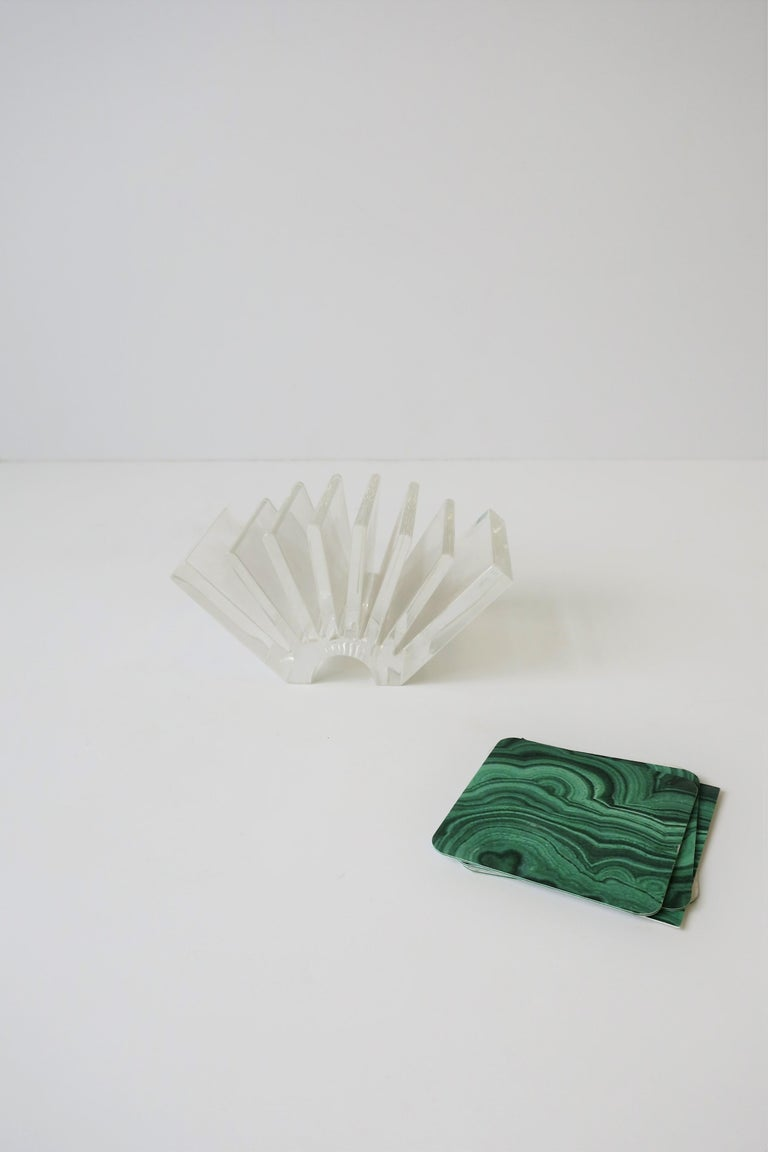Contemporary Italian Acrylic Business Card Holder or Desk Organizer By Guzzini For Sale
