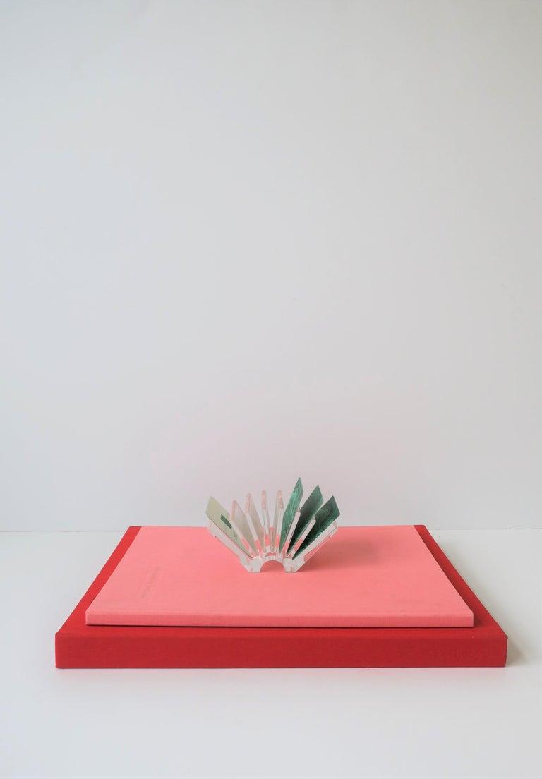 Italian Acrylic Business Card Holder or Desk Organizer By Guzzini For Sale 3