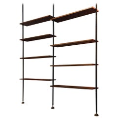 Italian Adjustable Bookcase with Telescopic Metal Tubing and Teak Shelves, 1960s