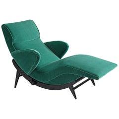 Italian Adjustable Chaise Longue Upholstered in Green Velvet