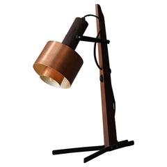 Italian, Adjustable Modernist Table Lamp, Wood, Metal, & Copper, Italy, 1950s