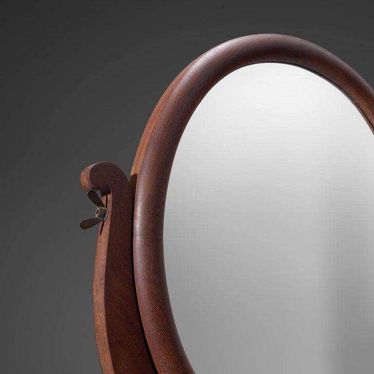 Art Deco Italian Adjustable Oval Mirror in Walnut For Sale