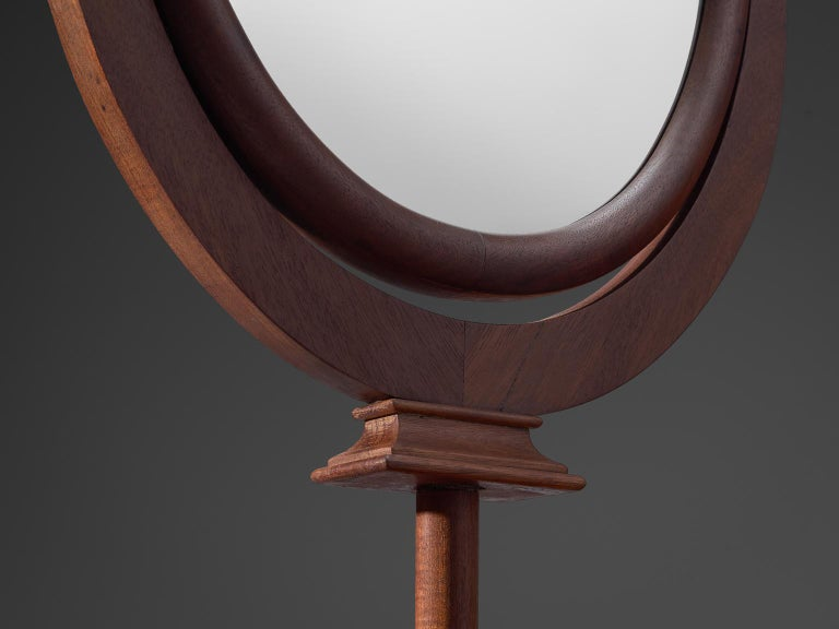 Mid-20th Century Italian Adjustable Oval Mirror in Walnut For Sale