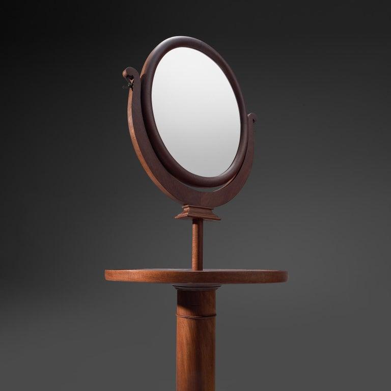 Glass Italian Adjustable Oval Mirror in Walnut For Sale