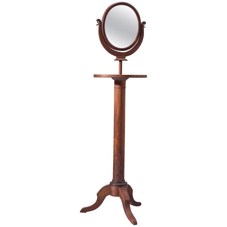 Italian Adjustable Oval Mirror in Walnut For Sale