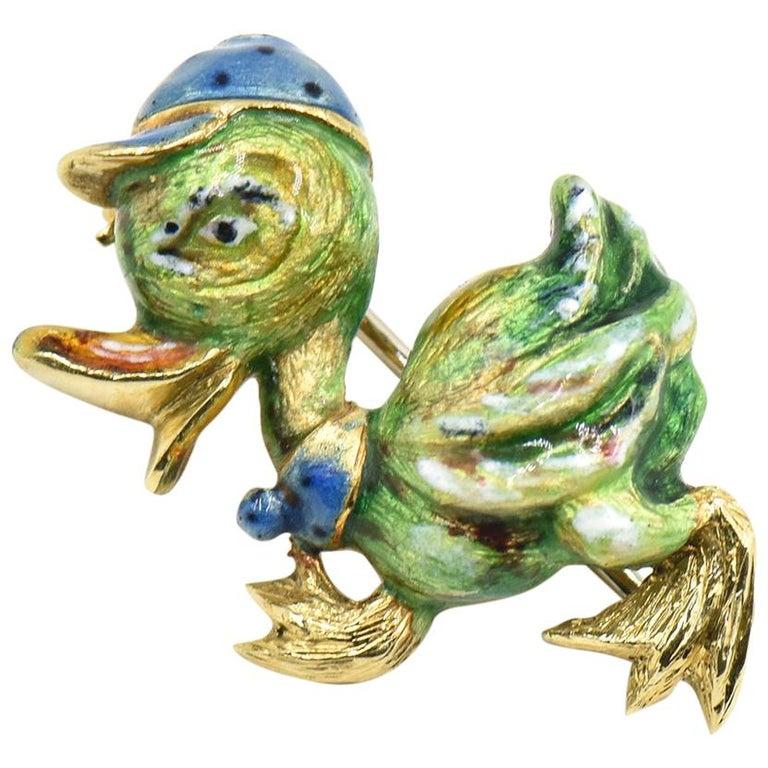 Italian Adorable Strutting Enamel Duck with Cap Brooch For Sale