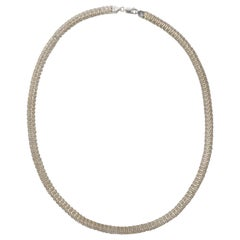 Italian ah Sterling Silver Mesh Link Chain Necklace circa 1990s