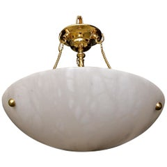 Italian Alabaster Brass Chandelier Pendant Ceiling Light