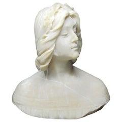 Italian Alabaster Bust Lady by Italian Emilio Fiaschi 1883-1941, 19th Century