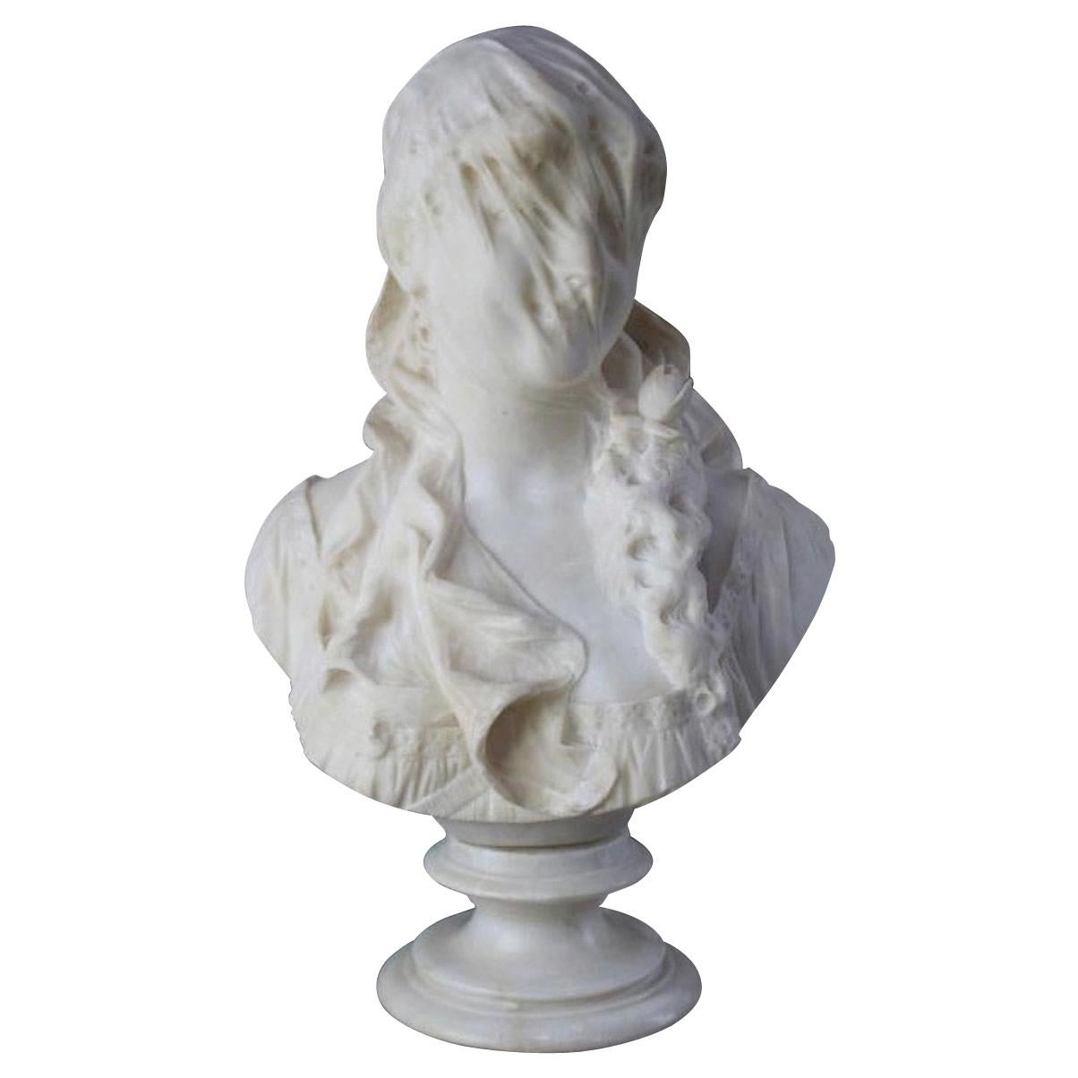 Italian Alabaster Bust of Veiled Woman