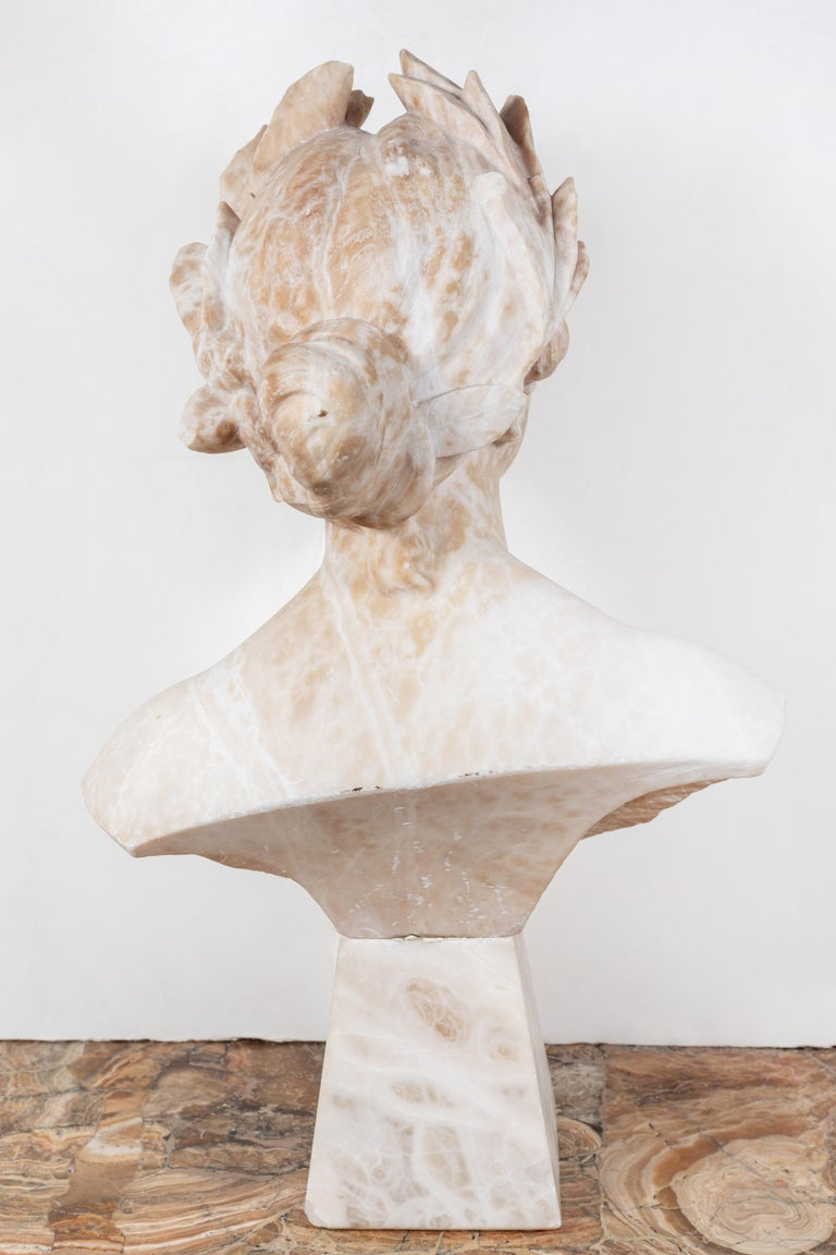 Carved Italian Alabaster Bust of Victory For Sale