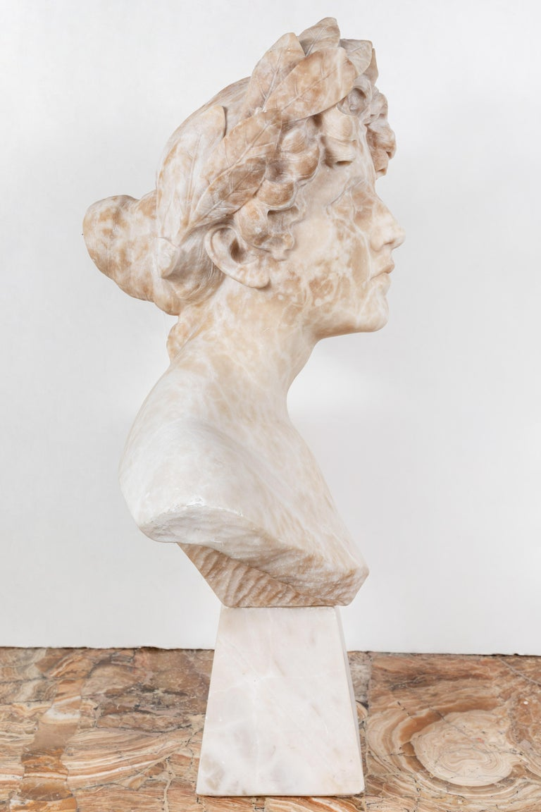 Italian Alabaster Bust of Victory In Good Condition For Sale In Newport Beach, CA